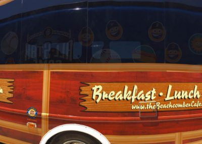La Wraps Beachcomber Restaurant Newport Beach Shuttle Bus Woodie Wrap